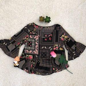Runway Story Tops - Runway Story Black Floral Crop Top Women Small